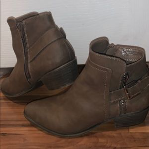 Taupe colored booties